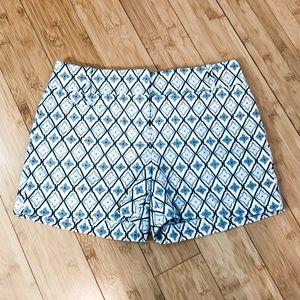 LOFT sz 0 blue white cute shorts NWT